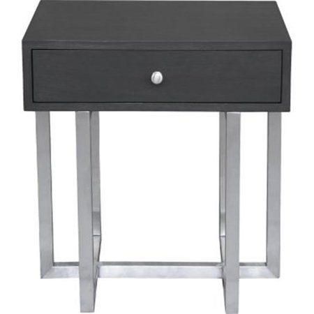 24 H x 22 W x 18 D Knight Contemporary Lamp Table in Brushed Stainless Steel Finish with Grey Top