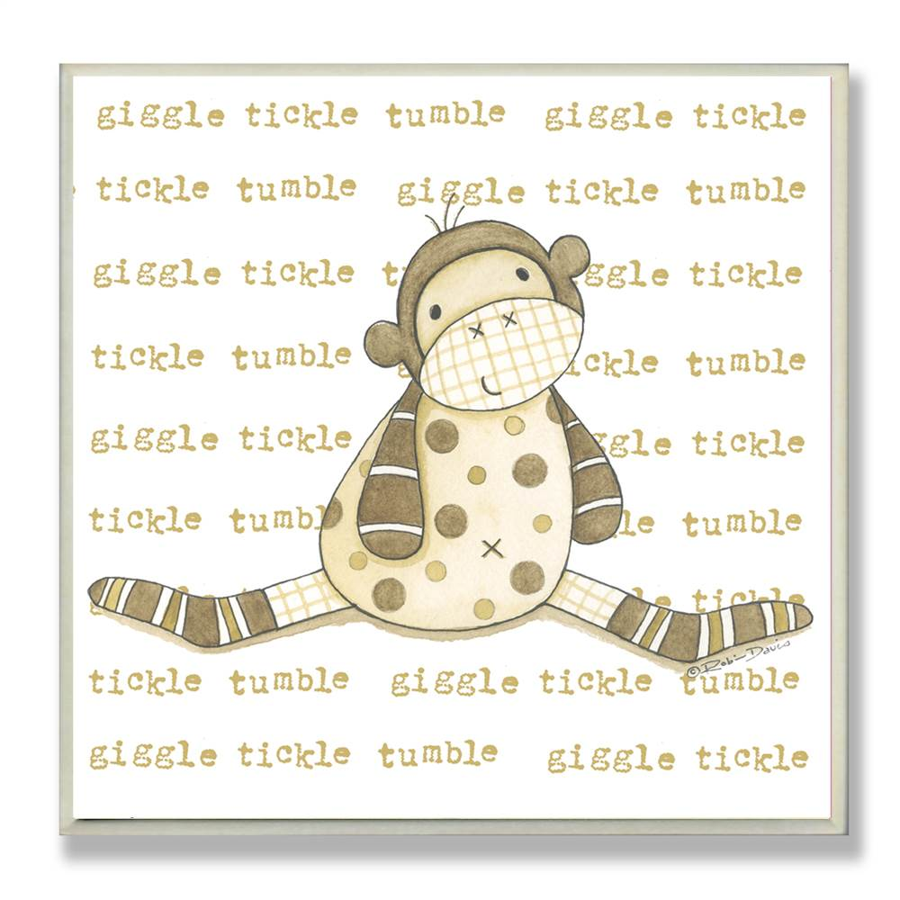 Sock Monkey Giggle Words Square Wall Plaque
