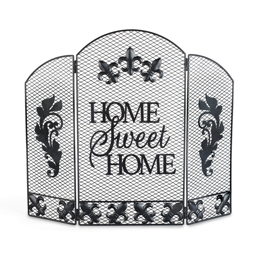Home Sweet Home Decorative Fireplace Screen, Metal, 25.25 x 24 inches