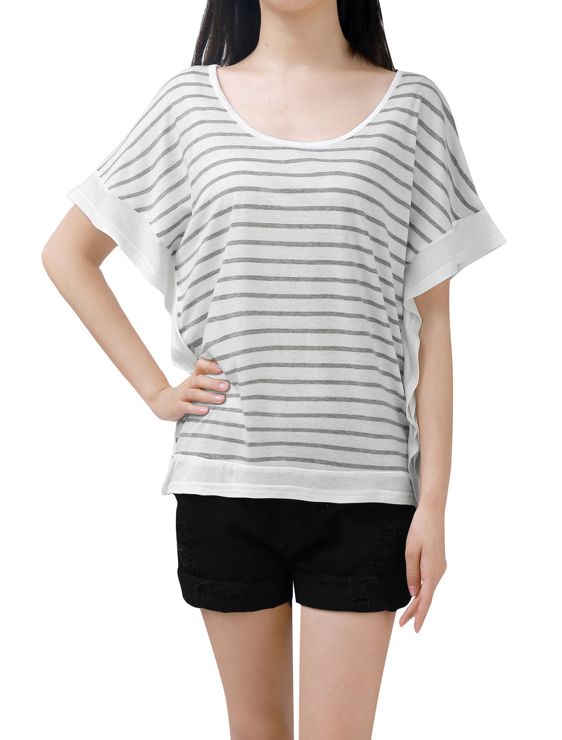 Women Poncho Sleeves Scoop Neck Loose Fit Striped T-shirt by