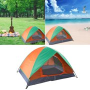 Happybear 2-person Foldable Double Door Camp Dome Tent Orange Green for Outdoor Sport