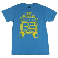 Star Wars Mens T-Shirt -  R2-D2 Line Drawing You R2 Awesome Yellow Print Image