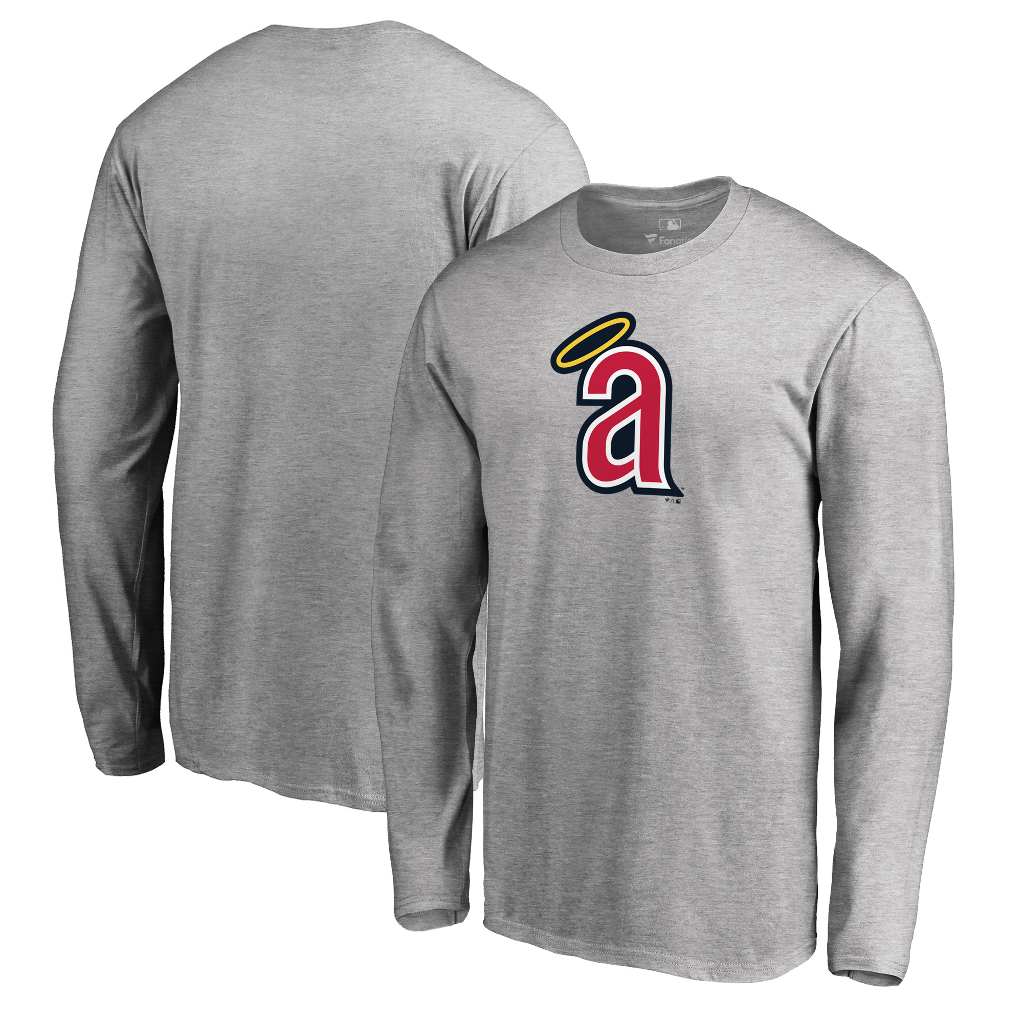 California Angels Fanatics Branded Cooperstown Collection Huntington Long Sleeve T-Shirt - Heathered Gray