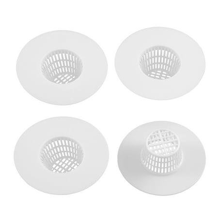 Bathroom Plastic Drain Hair Stopper Strainers Sink Drainer White 4pcs