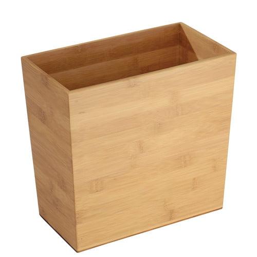 InterDesign Formbu Rectangular Bamboo Wastebasket