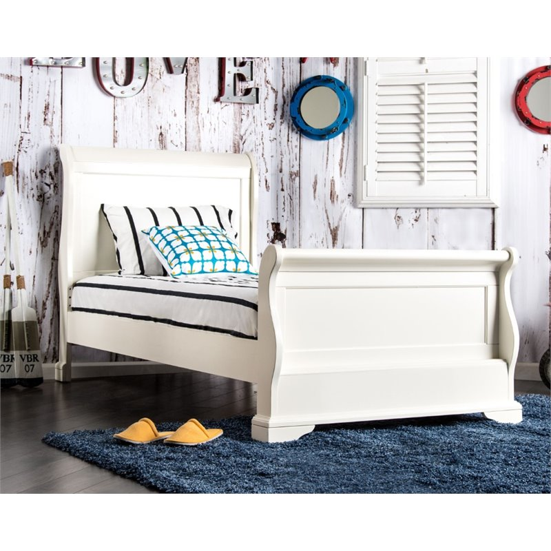 Furniture of America Jeffers Full Sleigh Bed in White