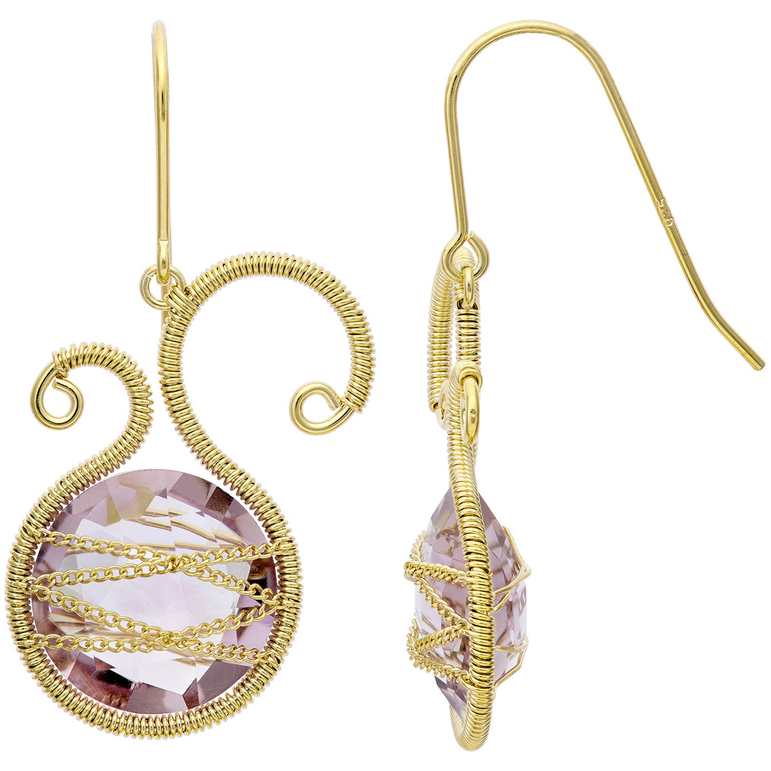Image of 5th & Main 18kt Gold over Sterling Silver Hand-Wrapped Asymmetric Amethyst Stone Earrings