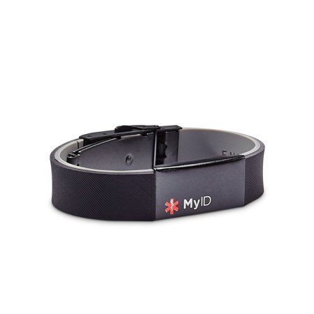 Sleek Medical ID Bracelet, Online Profile, with watch - Watch Bracelet Clasp