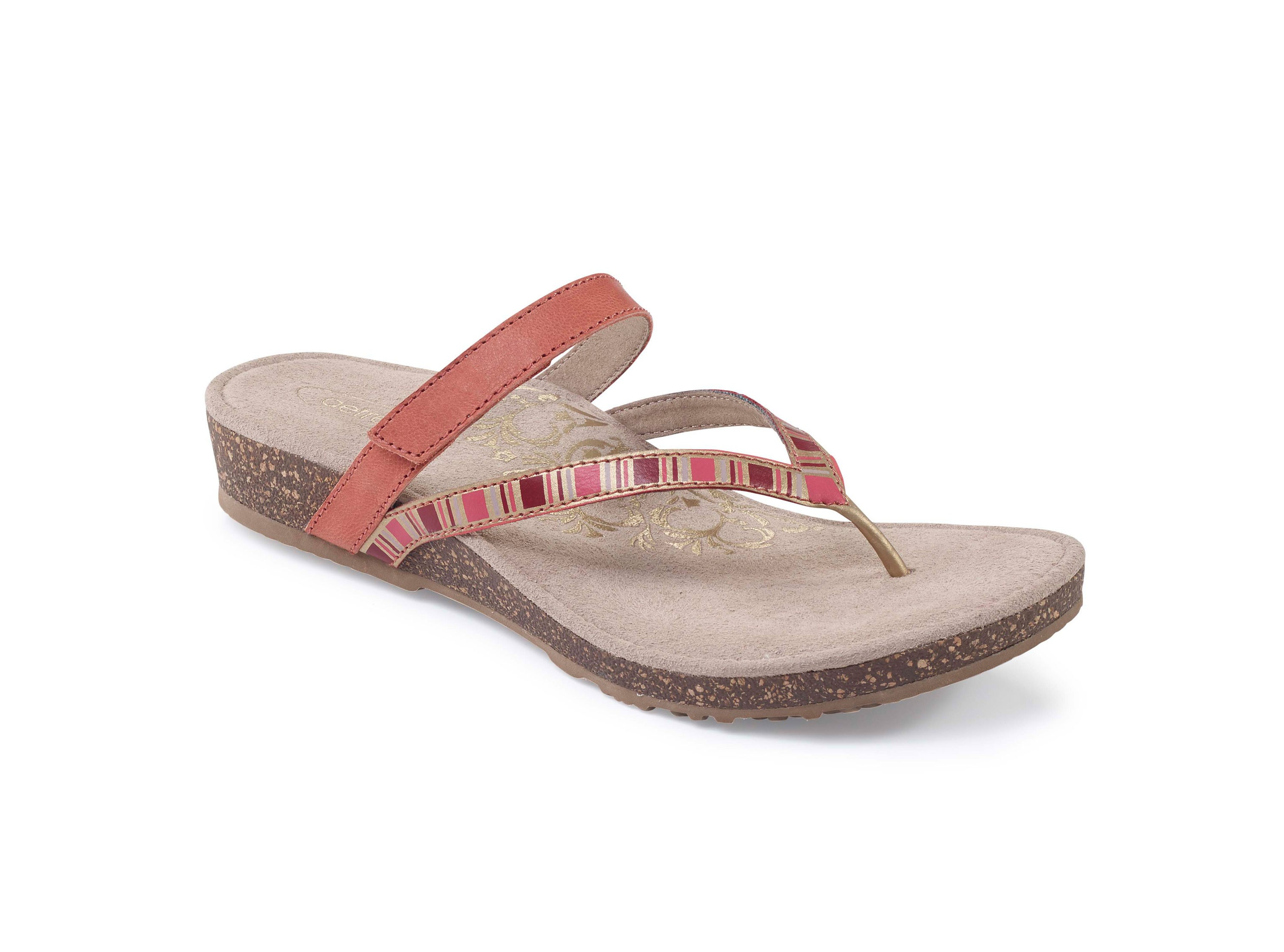 Aetrex Women's Coral Thong Sandals, Coral, 8 B US by Aetrex