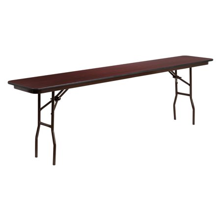 Flash Furniture YT-1896 96 in. Rectangular Mahogany Laminate Folding Training Table