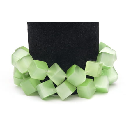 Green Tree Agate Beads - Mint Green Cat's Eye Beads Diagonal Cube Fiber Optic Glass Beads 13mm