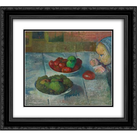 Meijer de Haan 2x Matted 24x20 Black Ornate Framed Art Print 'Still life with a profile of Mimi'