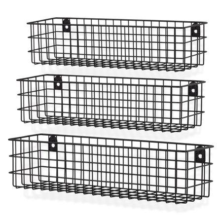 Wall35 Kansas Set of 3 Wall Mounted Kitchen Storage Metal Wire Fruit Basket Varying Sizes, Black ()