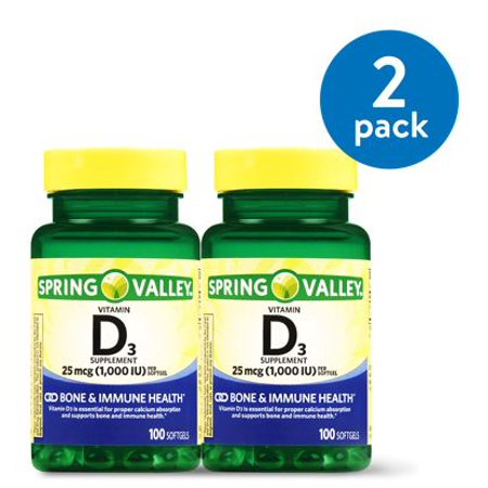 (2 Pack) Spring Valley Vitamin D3 Softgels, 1000 IU, 100 Ct, 2 Pk 10000 Iu 100 Capsules
