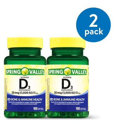 (2 Pack) Spring Valley Vitamin D3 Softgels, 1000 IU, 100 Ct, 2 Pk