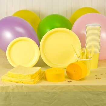 Yellow Plastic Eatery Set (Napkins, Cups, Plates, Spoons, Forks, Knives, Tablecloth), Plates (20) 7 and (24) 9 for a combined total of 44 plates By - Party Tablecloths And Napkins