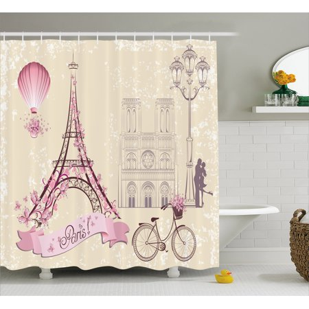 Kiss Shower Curtain, Floral Paris Symbols Landmarks Eiffel Tower Hot Air Balloon Bicycle Romantic Couple, Fabric Bathroom Set with Hooks, 69W X 70L Inches, Ivory Pink, by Ambesonne for $<!---->
