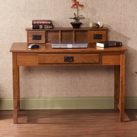 Amarillo mission style writing desk with hutch oak - Mission style computer desk with hutch ...