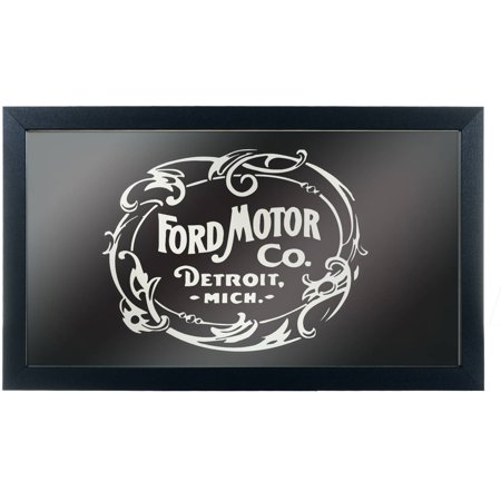 Ford Framed Logo Mirror, Vintage 1903 Ford Motor Co, Black