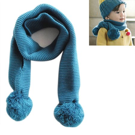 Baby Kids Winter Solid Color Double Ball Warm Knitting Wool Scarf