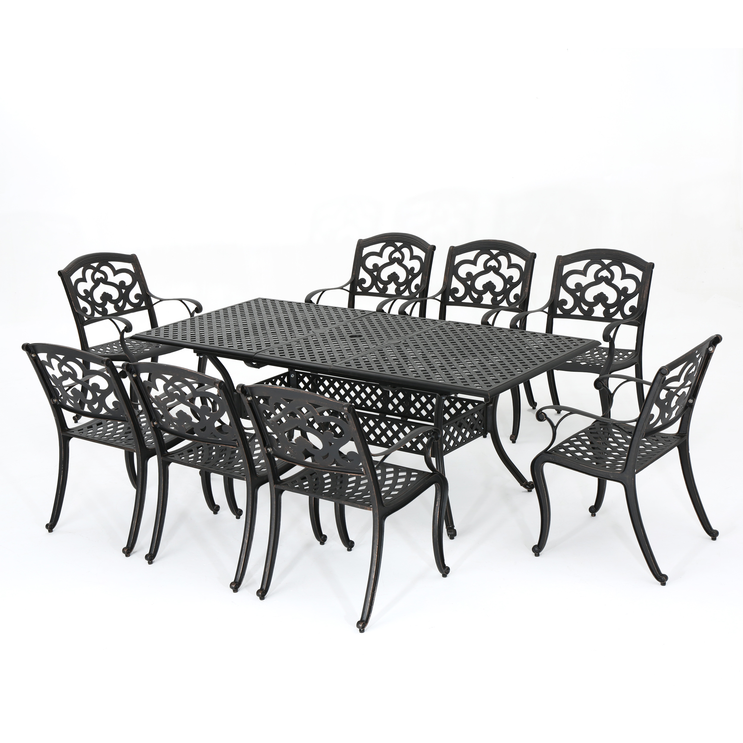 Ariel Outdoor 9 Piece Cast Aluminum Dining Set, Shiny Copper Finish