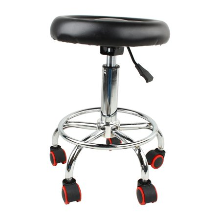 Image of YLSHRF Swivel Rolling Stool, Height Adjustable Hydraulic Round Chair with Foot Rest and Movable Wheels for Spa Salon Massage Tattoo Medical Home Office - Black