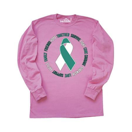 Word Circle Cervical Cancer Awareness Long Sleeve T Shirt