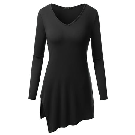 Length Cut Out - Thanth Womens V-Neck Cut Out Hem Long Length Loose Fit Tunic