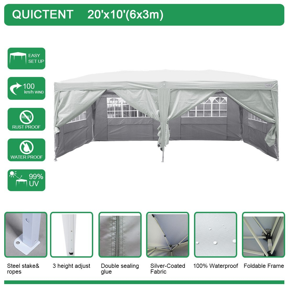 Quictent Silver Waterproof 20x10u0027 EZ Pop Up Canopy Commer.  sc 1 st  Nextag & Waterproof pop up canopy tent | Outdoor Structures | Compare ...