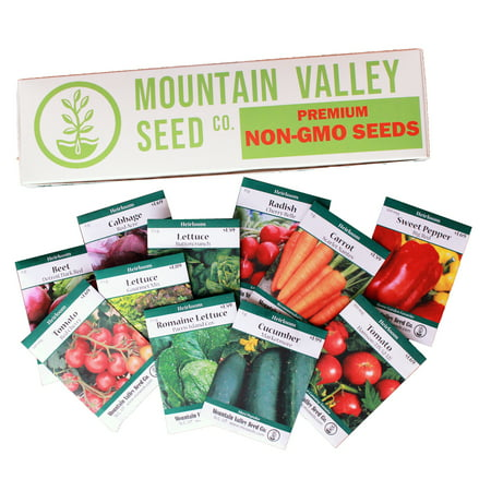 Salad Garden Seed Collection - Deluxe Assortment - 12 Non-GMO Vegetable Gardening Seed Packets: Mixed Greens, Lettuce, Carrot, Cucumber, Pepper, Tomato,