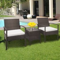 UBesGoo 3 Piece Outdoor Wicker Chat Set Capacity 330lbs Browm with Cushions