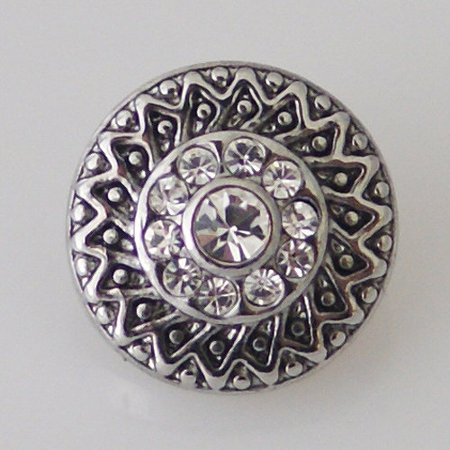 1 PC - 12MM White Rhinestone Silver Snap Candy Charm kb5528-s -