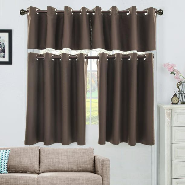 Grey Blackout Ringtop Eyelet Curtains Living Room Kitchen Short Windows Curtain