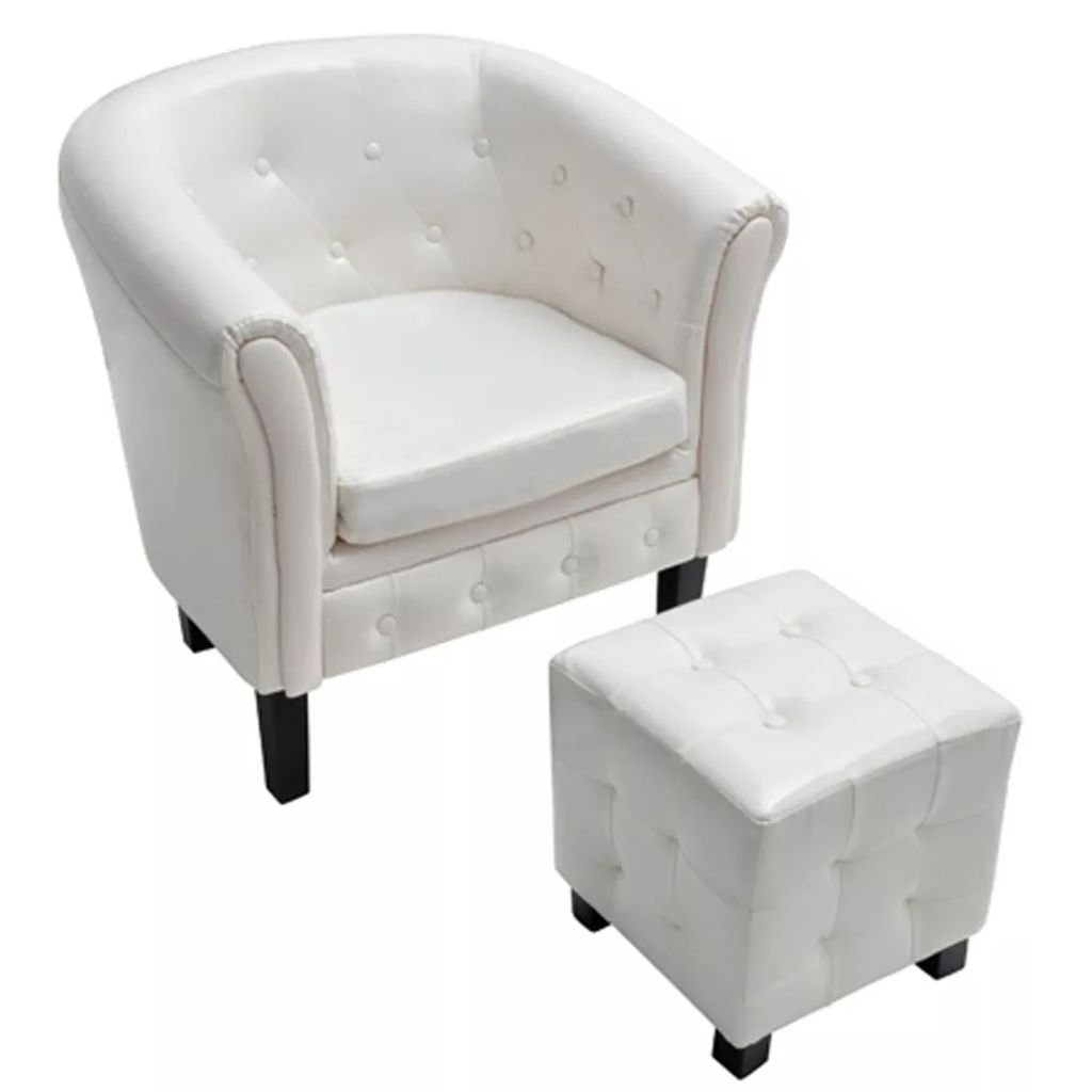 White Artificial Leather Tub Chair Armchair with Footrest