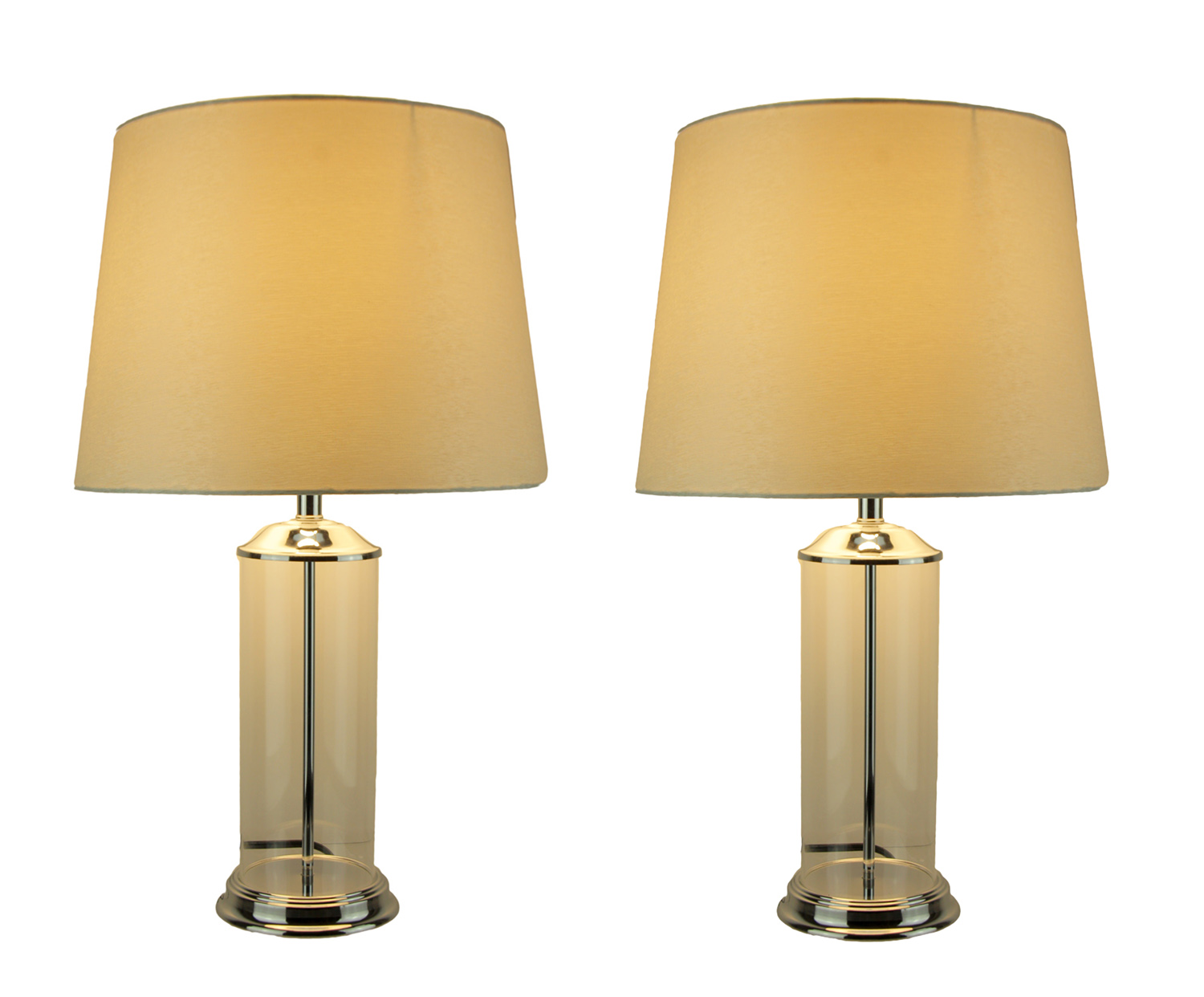 Clear Glass Cylinder Fillable Table Lamp With White Fabric