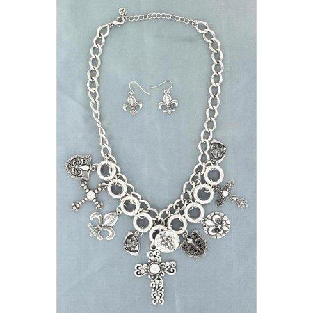Blazin Roxx Women's Cross And Fleur De Lis Charm Necklace Earrings Set - 29737