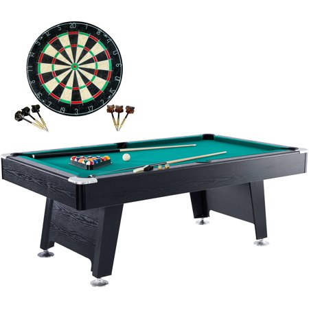 Barrington 84 Inch Arcade Billiard Table with Bonus Dartboard Set, Includes billiard balls, 2 cue sticks, triangle, 2 chalks, brush and dartboard accessories, Black/Green