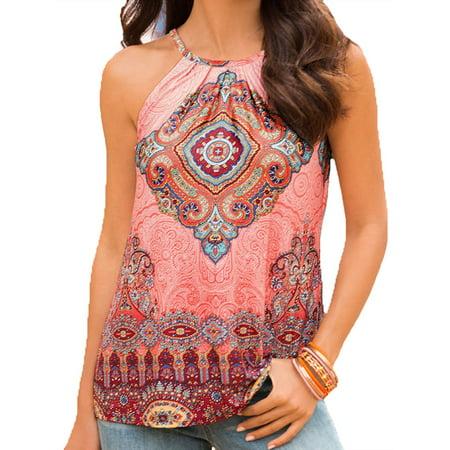Women's Floral Print Classic Casual Crop Flowy Halter Tunic Cami Tank Top Sleeveless Shirts (Halter Tri Top)