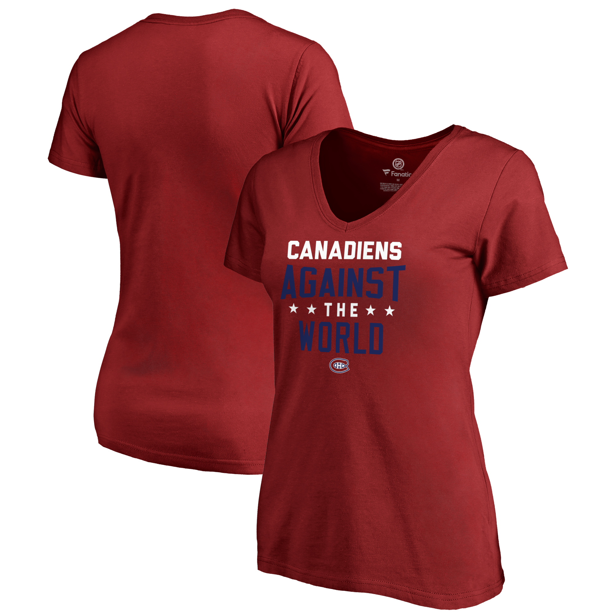 Montreal Canadiens Fanatics Branded Women's Against The World V-Neck T-Shirt - Red