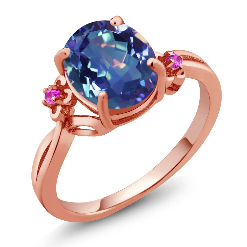 2.52 Ct Millenium Blue Mystic Quartz Sapphire Rose Gold Plated Silver Ring