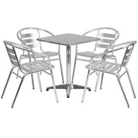 Lancaster Home 23.5-foot Square Aluminum Indoor/Outdoor Table with 4 Slat Back Chairs
