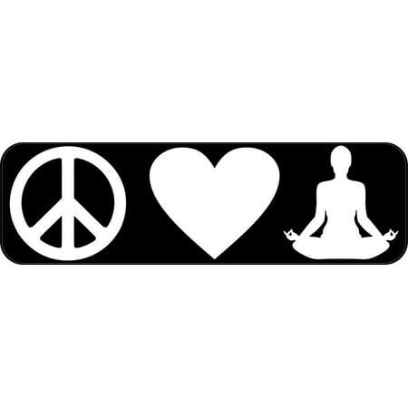 10in x 3in Peace Love Yoga Bumper Sticker Vinyl Decal Window Stickers Ski