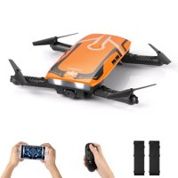 RC Quadcopter, Foldable FPV Mini Drone with 720P HD Wi-Fi Camera and Protective Case Gravity Sensor Control Altitude Hold for Kids and Beginners (2 Batteries)