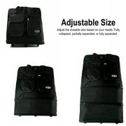 30 Inch Black Multi Tiered Collapsible Expandable Wheeled Travel Cargo Duffle Bag with Zippered Pockets