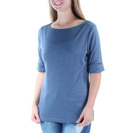 KAREN SCOTT Womens Blue Cuffed Crew Neck Top  Size: S ()