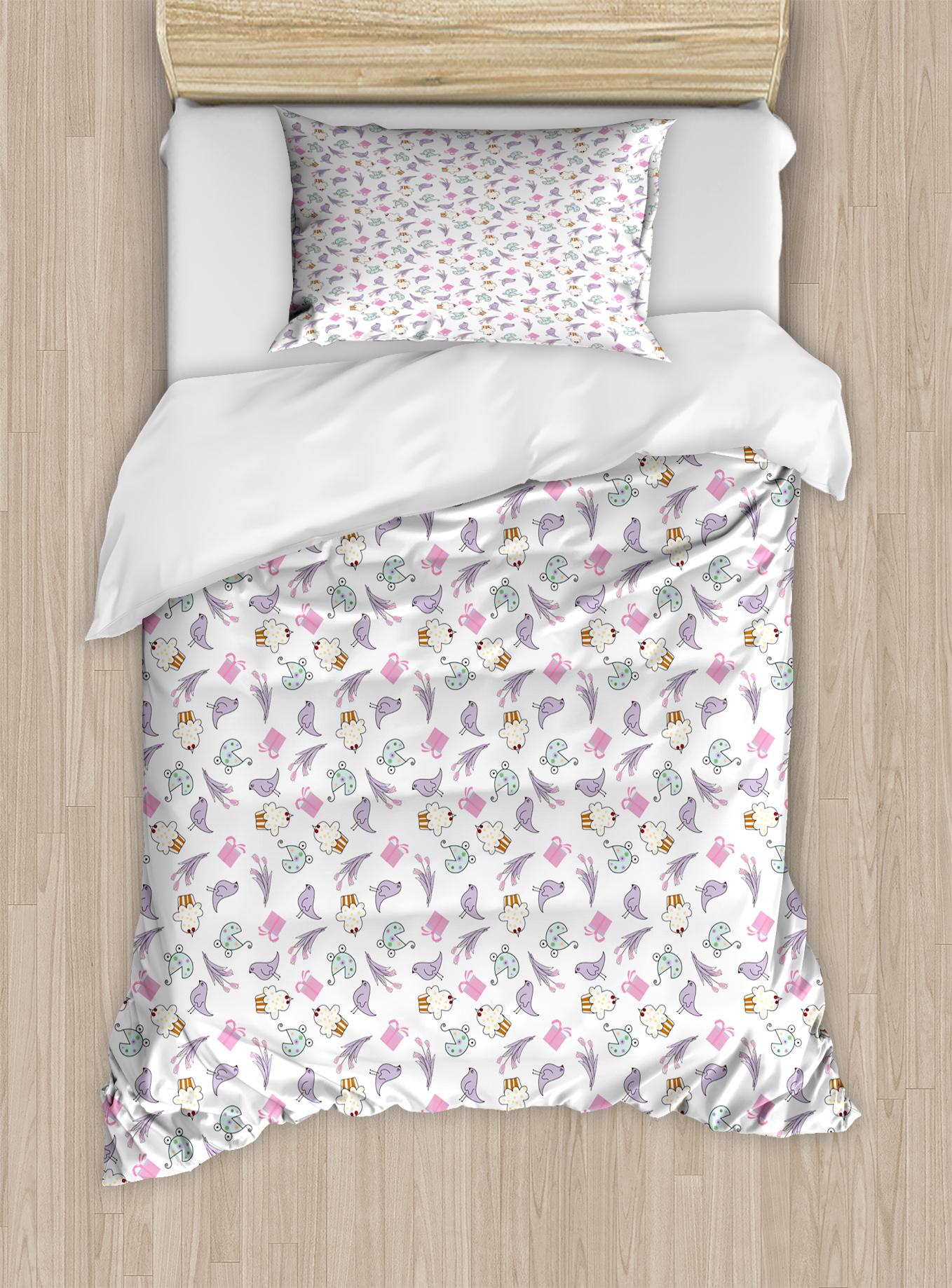 Birthday Twin Size Duvet Cover Set, Sketch Art Style Birds Cupcakes Baby Carriages and Tulip Flowers Newborn... by Kozmos