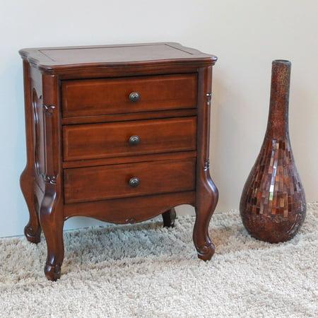 Antique Carved Furniture - International Caravan Windsor Walnut Stain Hand Carved 3 Drawer Night Stand
