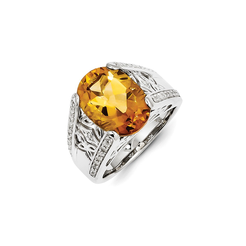 925 Sterling Silver (0.23cttw) Diamond and Citrine Ring Size-6 by