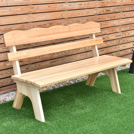Wooden Bench (Costway 5 Ft 3 Seats Outdoor Wooden Garden Bench Chair Wood Frame Yard Deck Furniture )