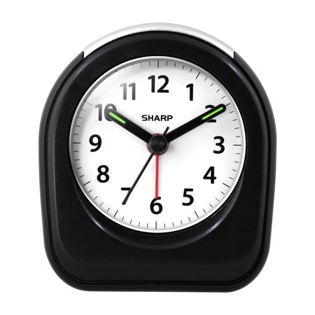 SHARP Quartz Analog Alarm Clock in Black (Travel Flip Alarm Clock)